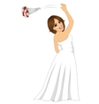 bride tossing a rose bouquet on her wedding day vector image vector image