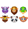 cartoon animal head collection set vector image vector image