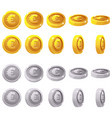 cartoon set of 3d metallic coins animation vector image vector image