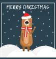 christmas greeting card with cute bear in hat vector image