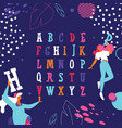 colorful english alphabet with dancing girls vector image