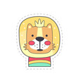 cute funny lion colorful cloth patch applique vector image vector image