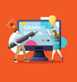 designers or working together on giant computer vector image vector image