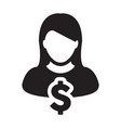 dollar sign icon currency symbol female avatar vector image