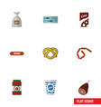 flat icon meal set of fizzy drink yogurt meat vector image vector image