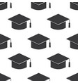 graduation cap icon seamless pattern on white vector image vector image