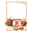 halloween design with calendar and jack o lantern vector image vector image