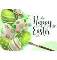 hand painted green easter eggs vector image vector image