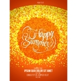 Happy summer flyer or poster orange background vector image vector image