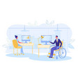 healthy and handicapped people working together vector image vector image
