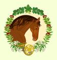 Horse dark chestnut head of stallion vector image vector image
