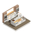 kitchen isometric composition vector image vector image