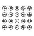 media player button icon set vector image vector image