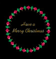 merry christmas typography in ornament circle vector image vector image