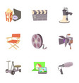 movie production icons set cartoon style vector image vector image
