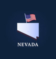 nevada state isometric map and usa national flag vector image vector image