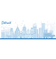 outline detroit skyline with blue buildings vector image vector image