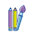 pencils and art paint brush tool vector image vector image