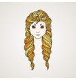 Portrait of a cute long-haired girl with braids vector image vector image