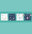 seamless patterns set floral elements vector image