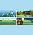 set nature scene vector image vector image