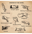 Set of vintage hands vector image vector image