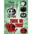 set pumpkins with inscriptions for halloween vector image
