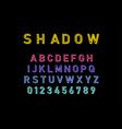 shadow font in colorful color font and alphabet vector image
