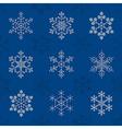 Snowflake icon set Vintage outline version vector image vector image