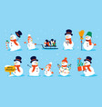 snowman character cartoon collection christmas vector image