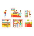 supermarket interior elements set people choosing vector image