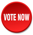 vote now red round flat isolated push button vector image vector image