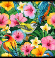 watercolor colorful tropical birds and flowers vector image