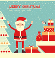Merry christmas card with Santa Claus and holiday vector image