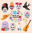 colorful symbols dia de los muertos holiday day of vector image