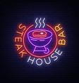 steak house logo neon sign symbol bright vector image