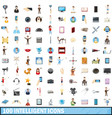 100 intelligent icons set cartoon style vector image