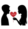 Black silhouette of young couple vector image