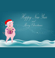 a beautiful pig girl pink stands in the snow and vector image vector image