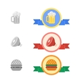 Badges of cold beer meat and hamburger vector image