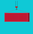 big shipping container red loading via crane vector image