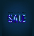 black friday banner with neon text effect vector image