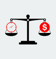 black scales balance money and time icon vector image vector image