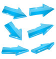 blue straight arrows web 3d shiny icons vector image