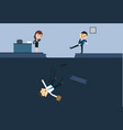 businessman kick a employee to abyss of vector image vector image