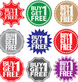 Buy 1 get 1 free label Buy 1 get 1 free sign Buy 1 vector image vector image