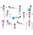 cartoon girl doing exercises vector image