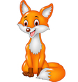 Cartoon happy fox sitting isolated vector image vector image