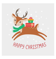 christmas deer card vector image vector image
