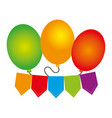 color silhouette with party balloons and banner vector image vector image